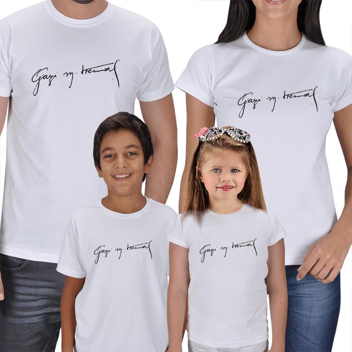 Gazi Mustafa Kemal İmza 4lü Aile Tişört