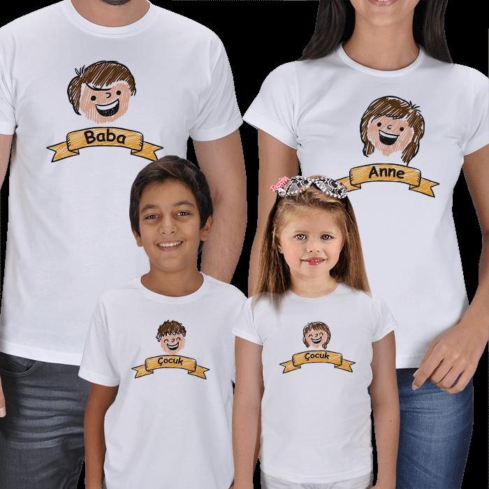 Anne Baba Çocuk Çizimli 4lü Tişörtler