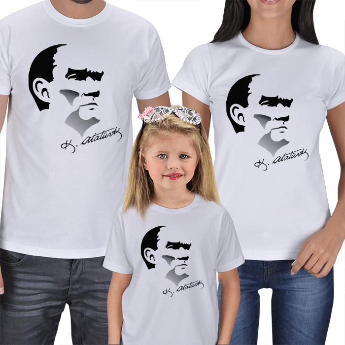 Atatürk Baskılı Anne Baba Çocuk Tişörtü