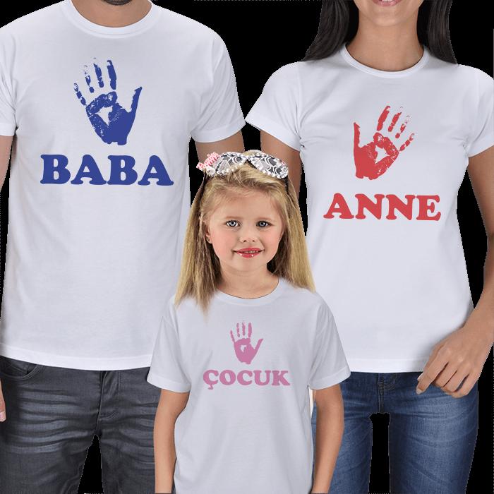 Anne Baba Kız Çocuk 3lü Set Tişörtler
