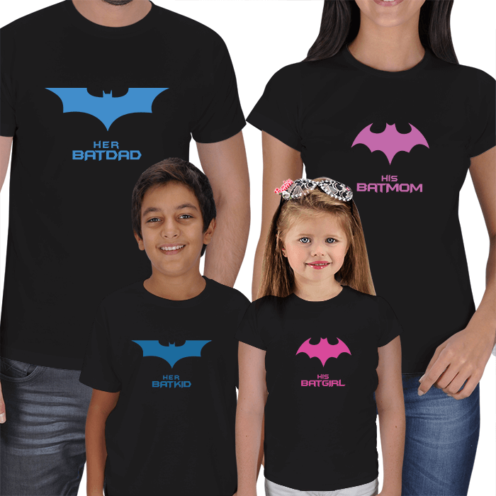 Batdad-Batmom-Batkid-Batgirl 4lü T-shirts