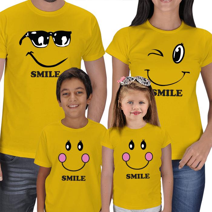 Smile Anne Baba Çocuk Tişört Kombinleri