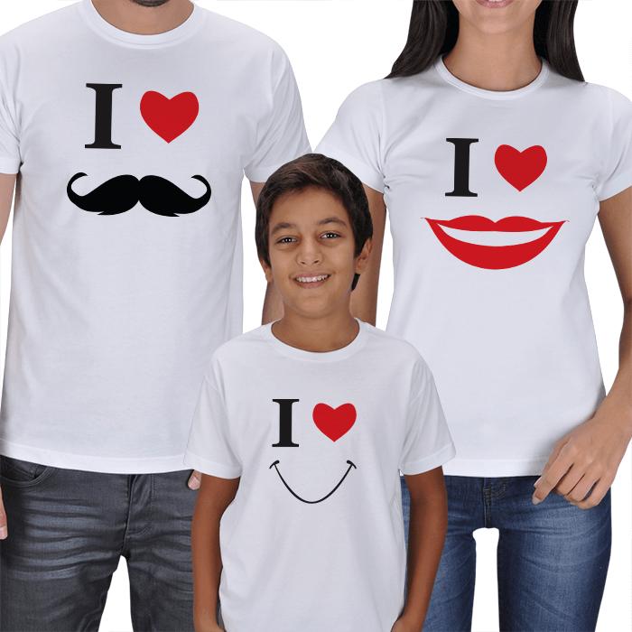 Anne Baba Erkek Çocuk 3lü Kombin Tişörtler