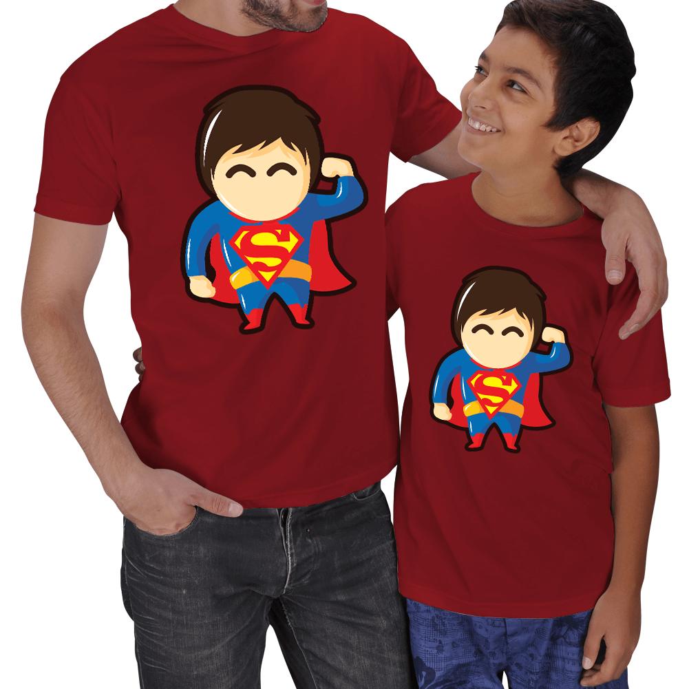Kişiye Özel Süper Baba - Süper Çocuk 2li Tişört