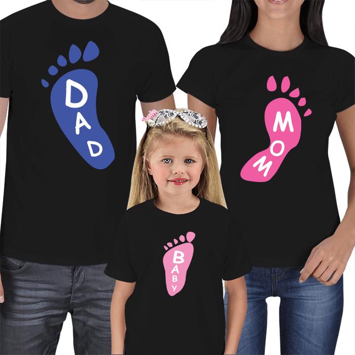 Mom Dad and Kid Footprints T-shirts