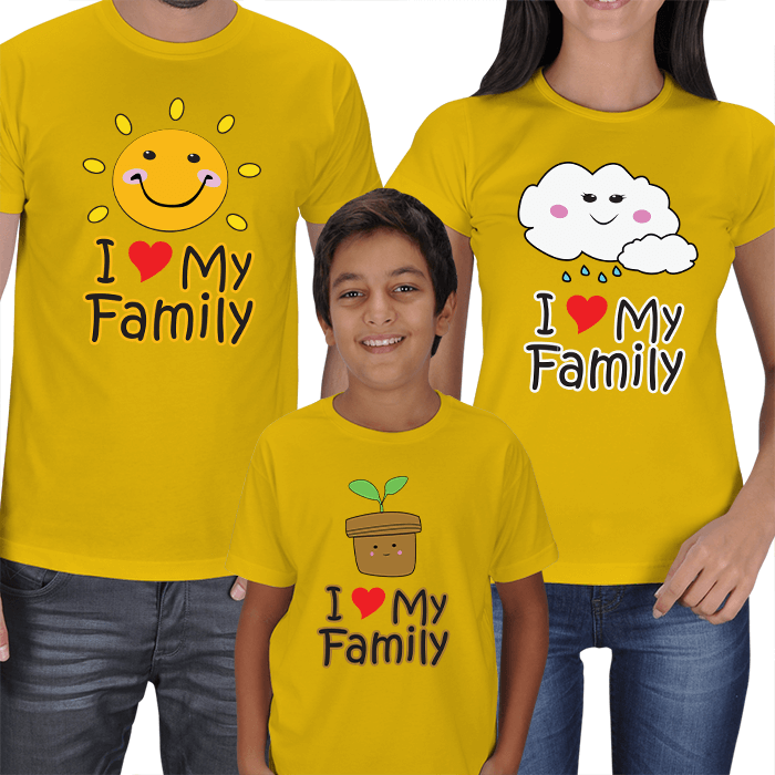 I Love My Family 3lü Aile T-shirts