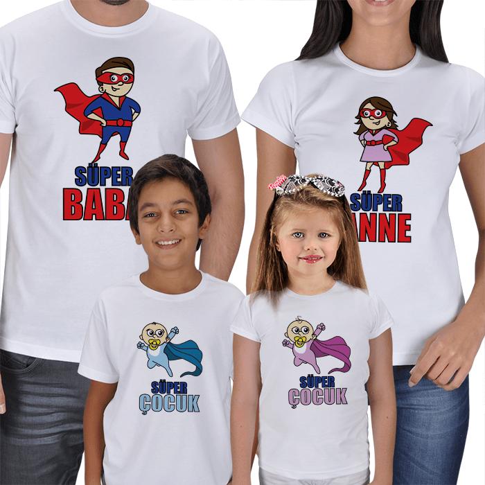 Süper Aile Kombinli 4lü Tişörtler
