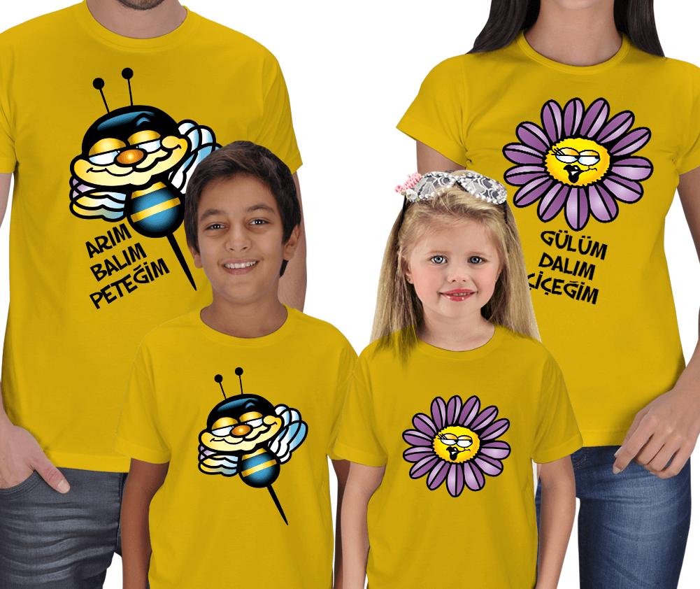 Kişiye Özel Arım Balım Peteğim 4lü Aile Kombinli Tişörtler