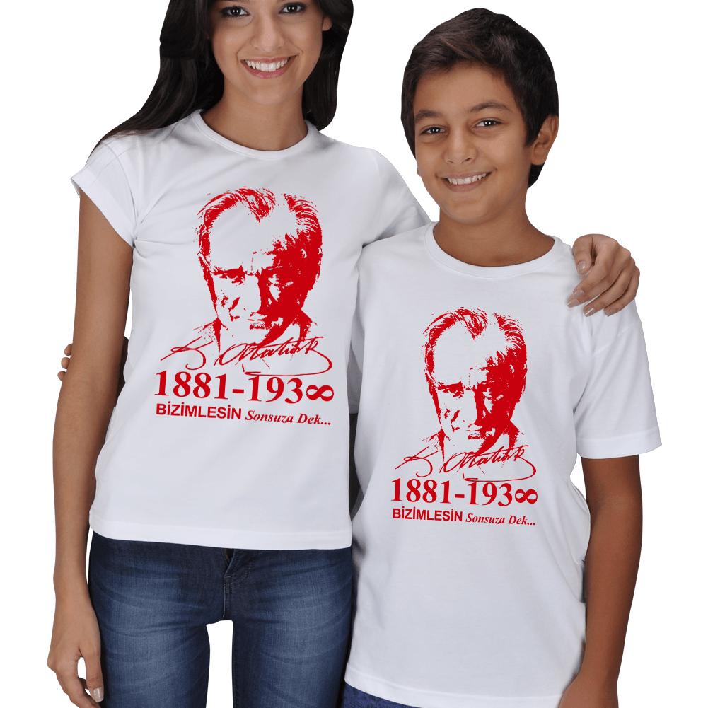 Atatürk ve İmzalı Anne Çocuk Tişörtleri