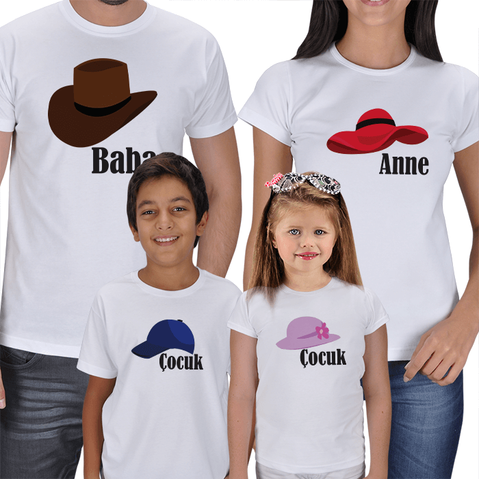 Anne Baba Çocuklar 4lü Tişört Hediyeleri