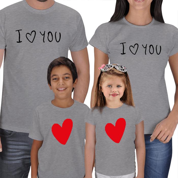 I Love You 4lü Aile T-shirts