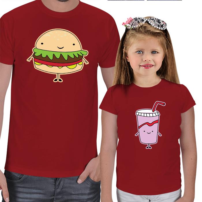 Fast Food Tasarımlı Baba Kız Tişörtleri