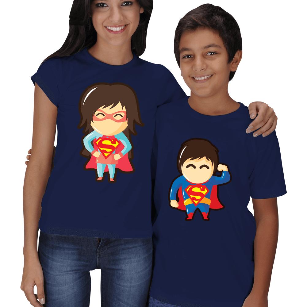 Kişiye Özel Süper Anne Süper Çocuk Kombinli Tişörtler