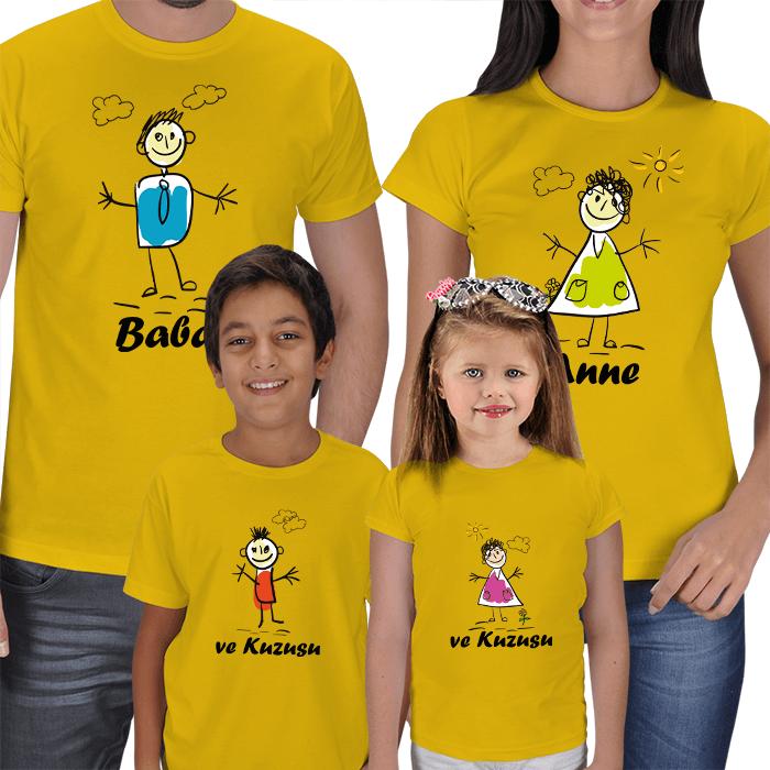 Anne Baba ve Çocuklar İçin Tasarımlı Tişörtler
