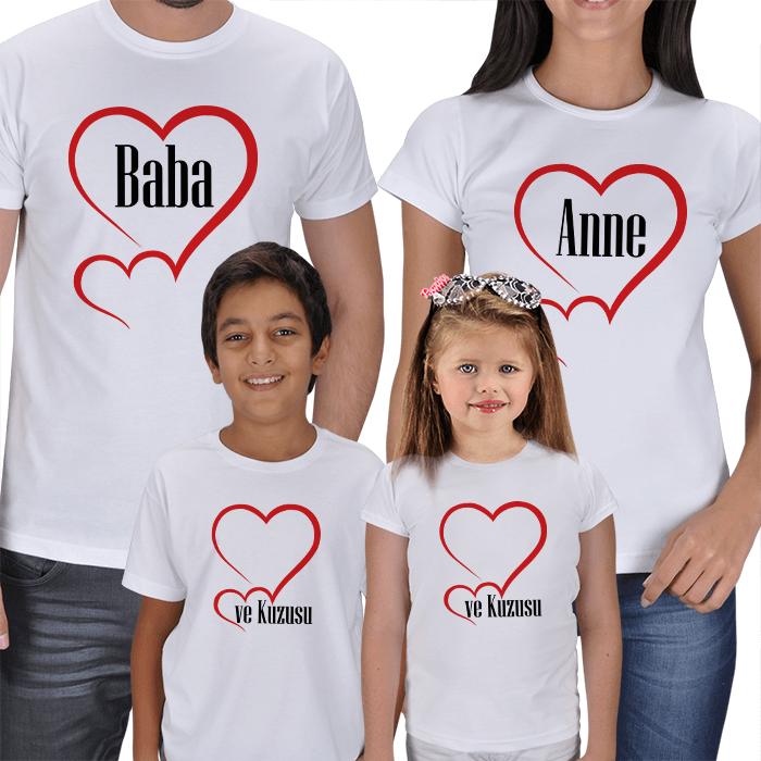 Anne ve Baba Kuzusu 4lü Aile Tişörtleri