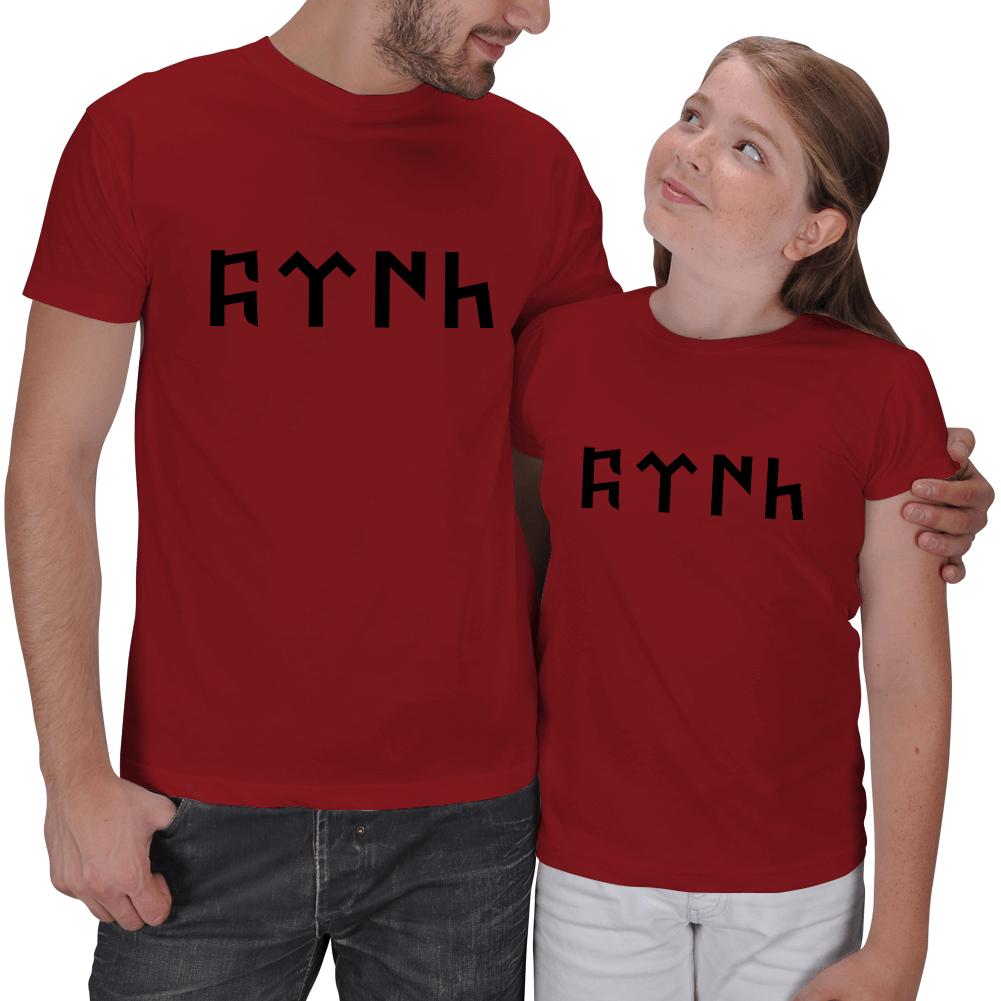 Göktürkçe Türk Yazan Baba Çocuk Tişörtleri