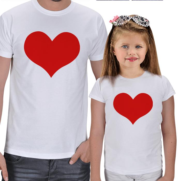 Kırmızı Kalpli Baba ve Kız Çocuk Tişört