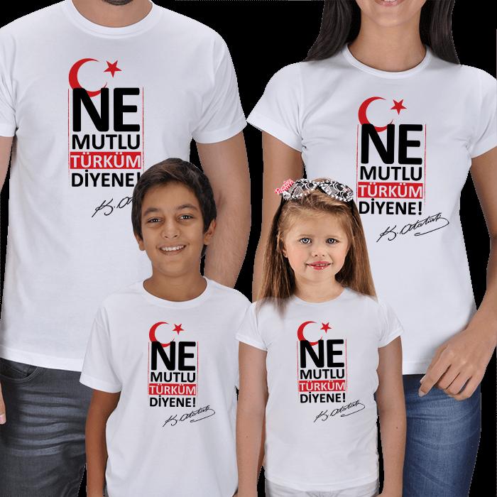 Ne Mutlu Türküm Diyene 4lü Aile Tişört