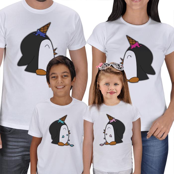 Şaşkın Penguenler Anne Baba Çocuk Tişörtleri