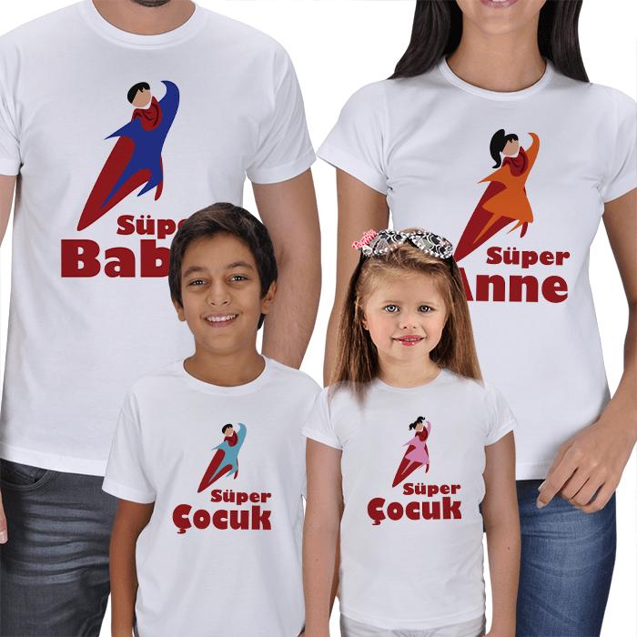 Süper Anne Baba Çocuklar Tişört Kombinleri