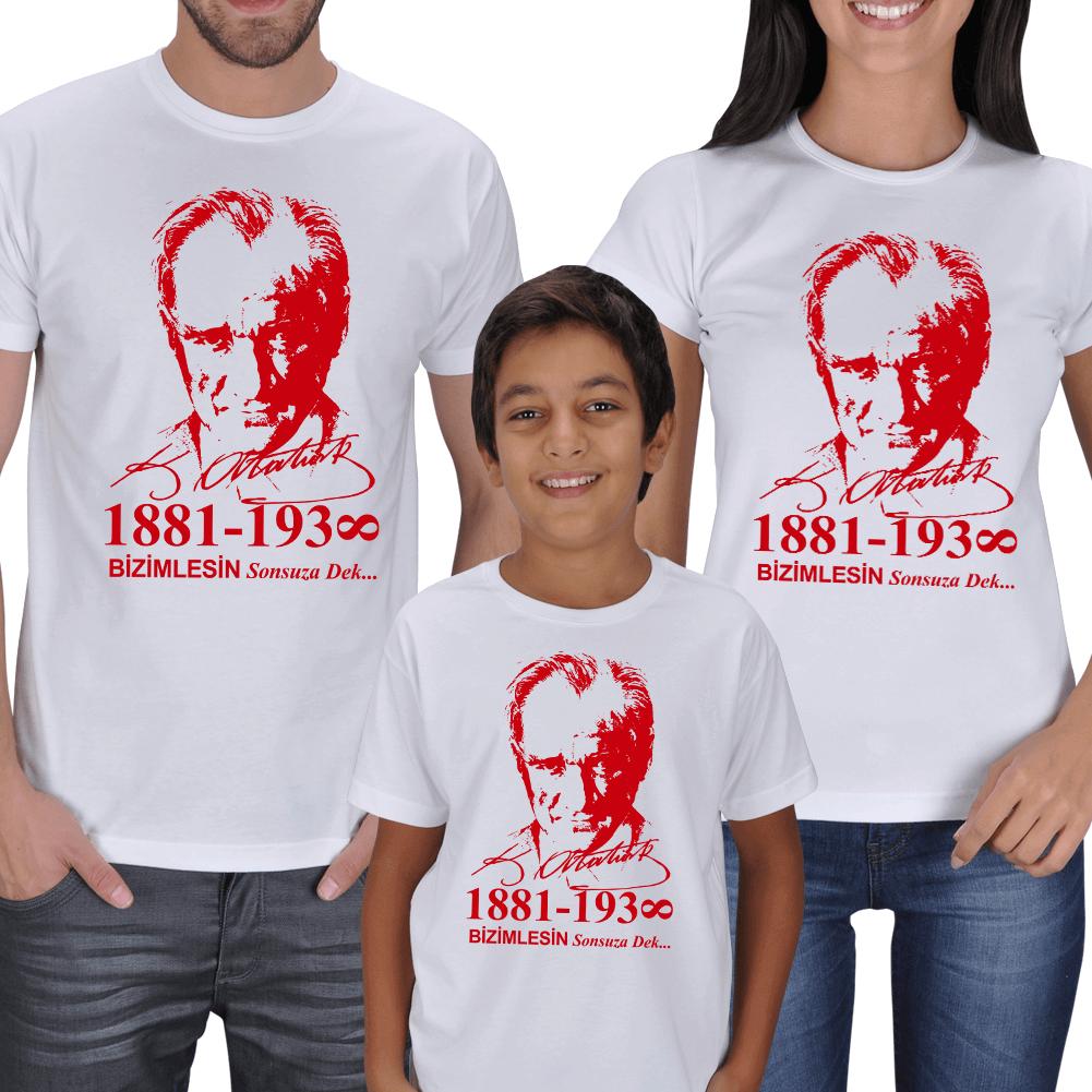 Atatürk ve İmzası Anne Baba Çocuk Tişörtleri