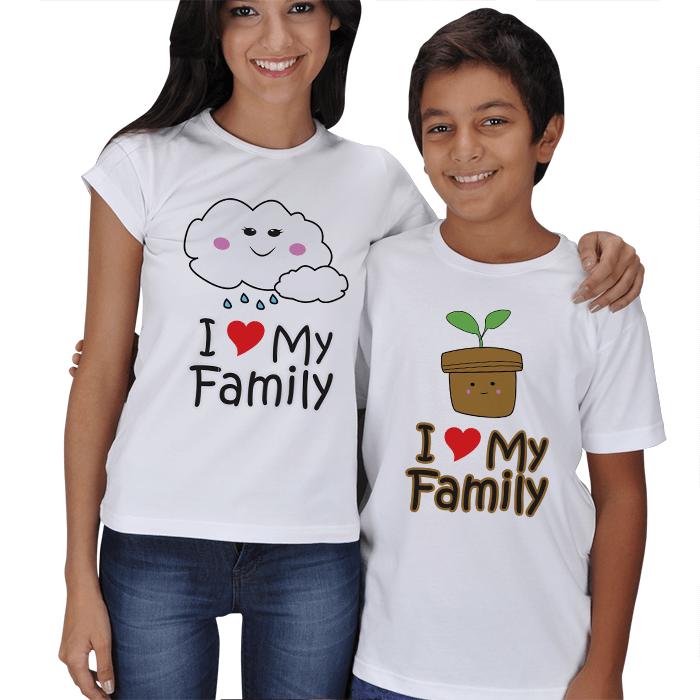 I Love My Family Anne Çocuk Tişörtleri