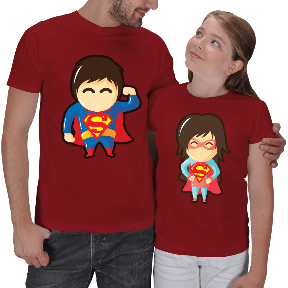 Süper Baba - Süper Kız 2li Tişörtler