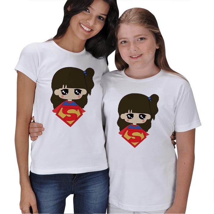 Süper Anne Süper Kız Tişört Kombinleri