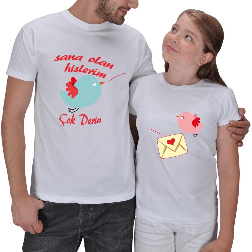 Kişiye Özel Sana Olan Hislerim 2li Baba Kız Tişörtü