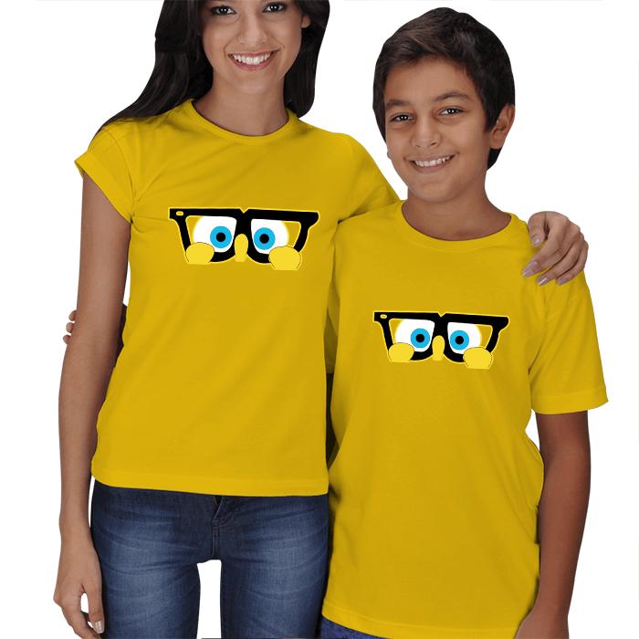 Sevimli Gözlükler Anne Çocuk Tişört