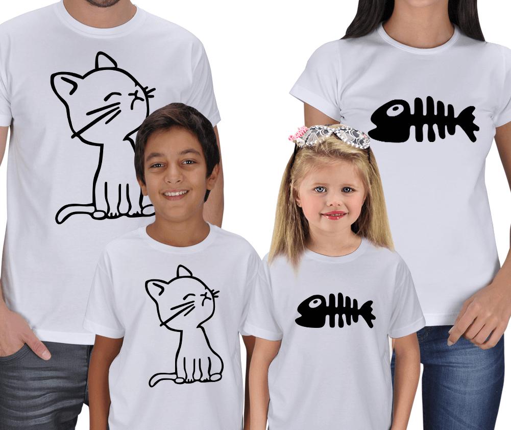 Kedi ve Kılçık 4lü Kombin Tişörtler