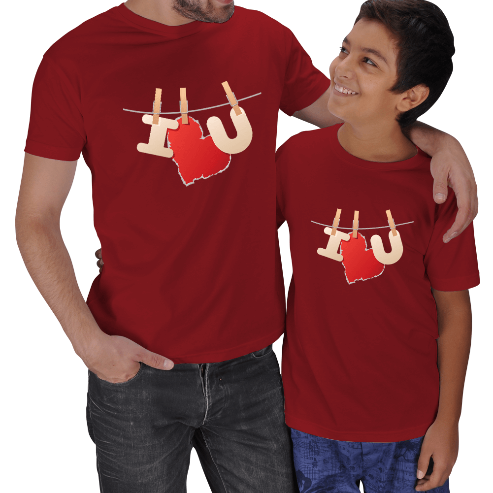 I Love U Baskılı Baba Çocuk Tişörtleri