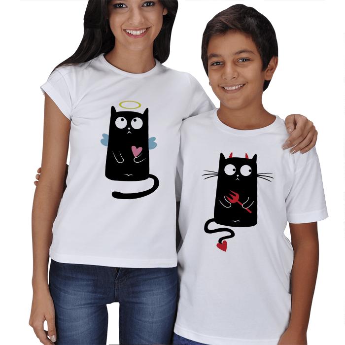 Sevimli Kediler Anne Çocuk Tişörtleri