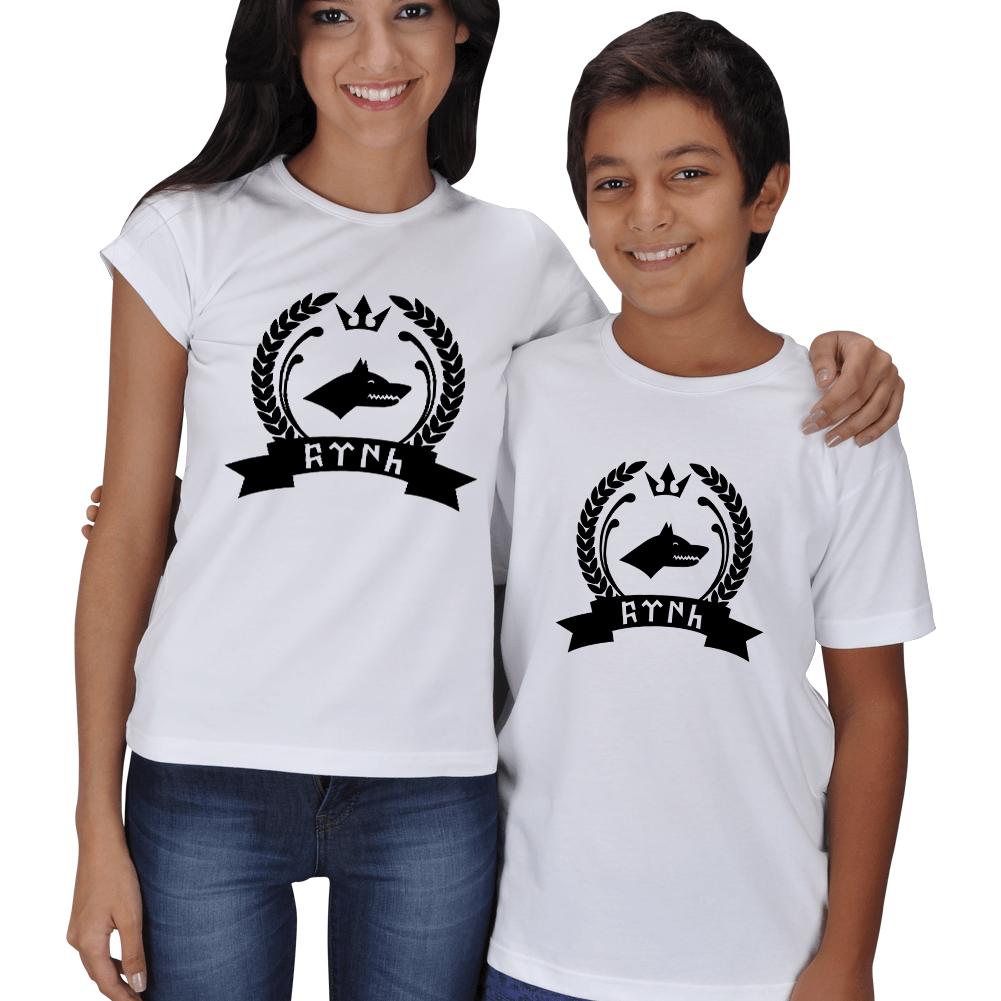 Kişiye Özel Göktürk Baskılı Anne Çocuk Tişört