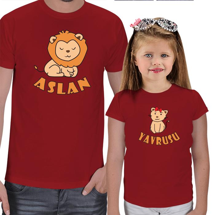 Aslan ve Yavrusu Baba Kız Tişört Kombini