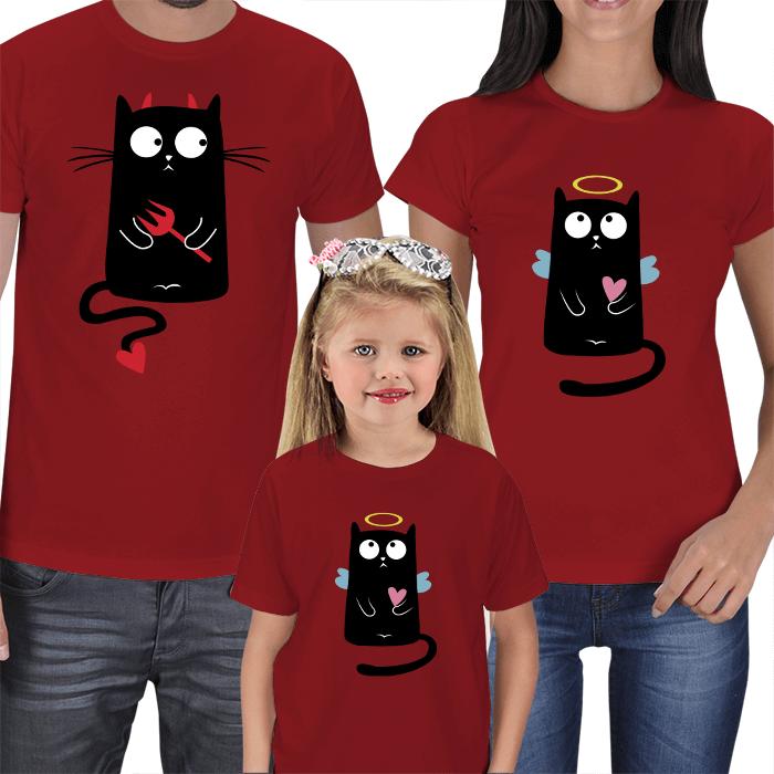 Sevimli Kedi Anne Baba Çocuk Tişörtleri