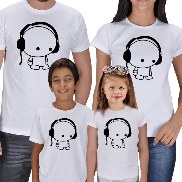 Anne Baba Çocuklar 4lü Tişört Kombinleri