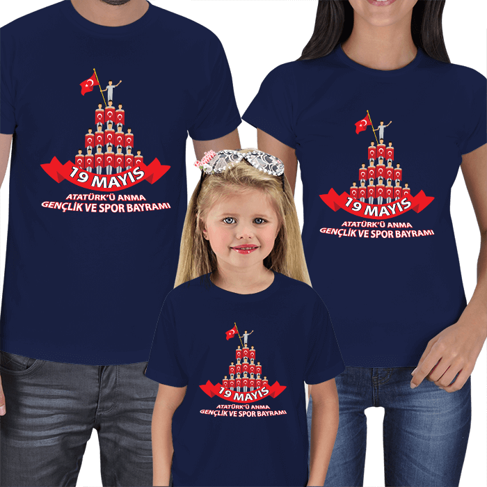 19 Mayıs Anne Baba Kız Çocuk Tişörtleri