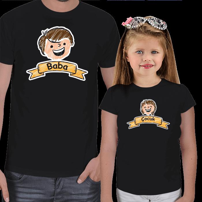 Baba ve Kız Çocuk Çizimli Tişörtler