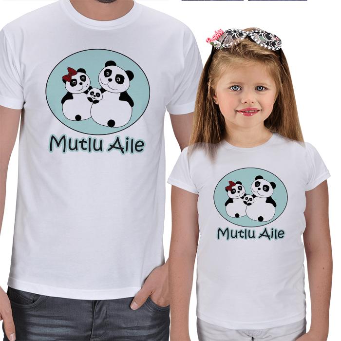 Panda Ailesi Baba-Kız Çocuk Tişört Kombini