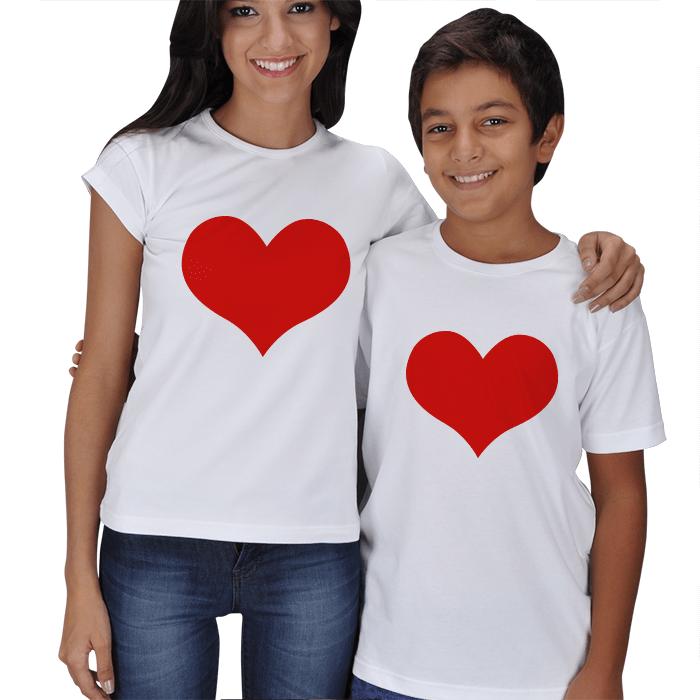 Kırmızı Kalpli Anne Çocuk Tişört