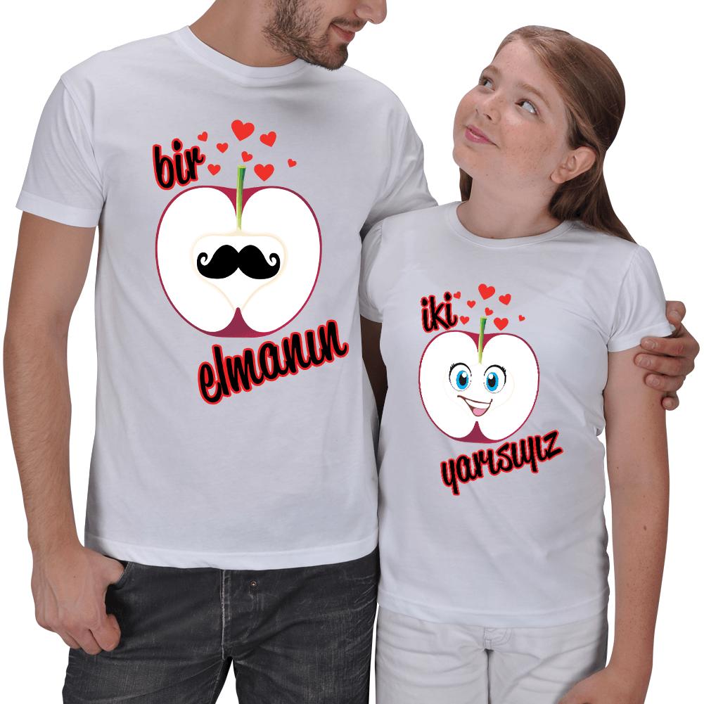 Kişiye Özel Elmanın İki Yarısı Baba ve Kız Çocuk Tişört