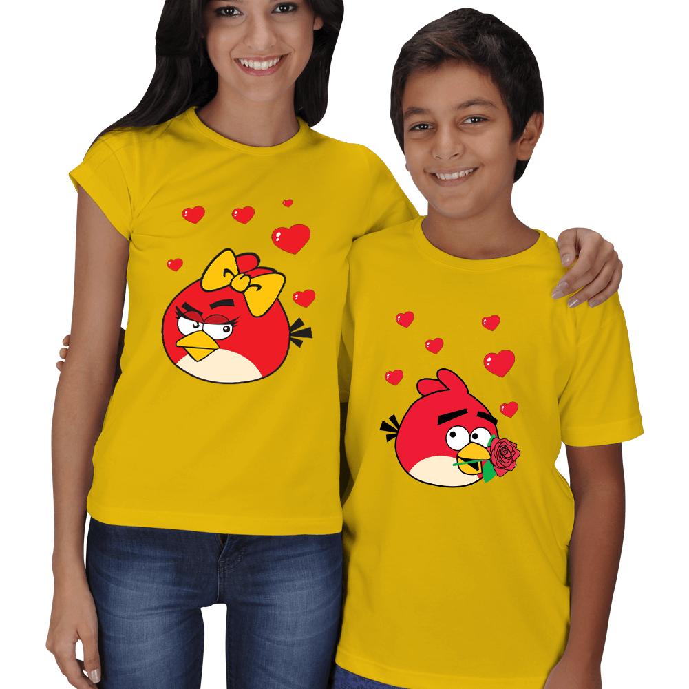 Kişiye Özel Anne Erkek Çocuk Angry Birds Baskılı Tişörtleri