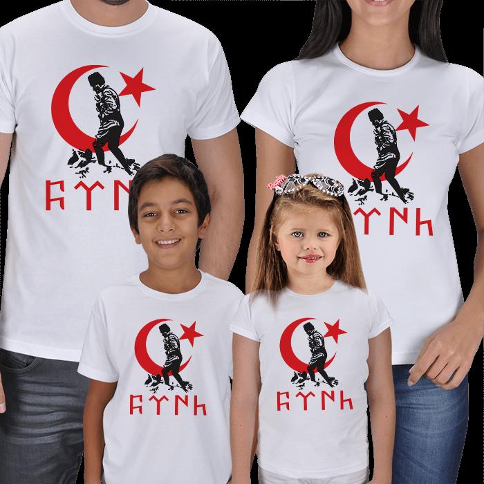 Atatürk ve Türk Baskılı 4lü Aile Tişörtleri