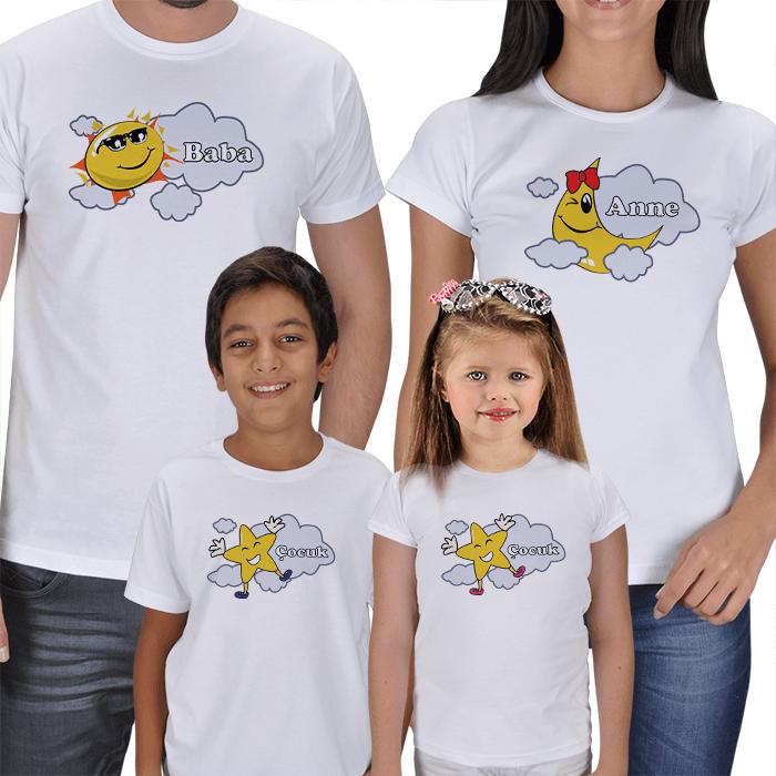 Güneş-Ay ve Yıldızlar Aile Tişört Setleri