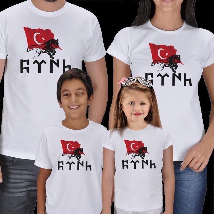 Türk Bayrağı ve Türk Yazılı 4lü Aile Tişörtleri