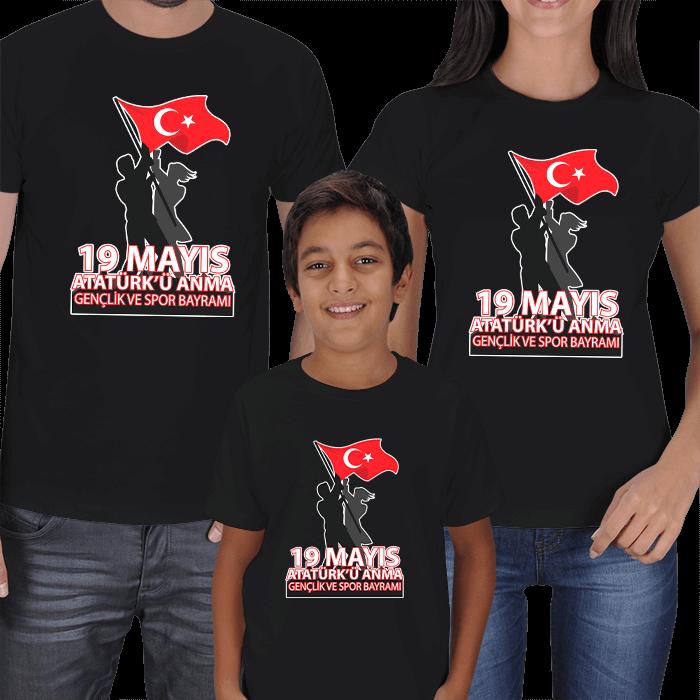 19 Mayıs Anne Baba Erkek Çocuk Tişörtleri