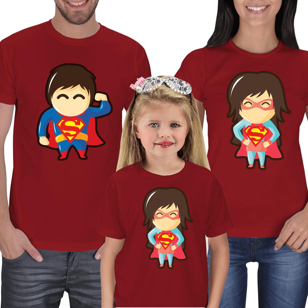 Süper Aile Anne Baba Çocuk Kombin Tişörtler