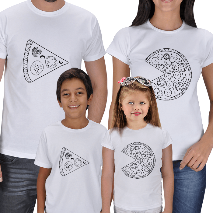 Pizza 4lü Aile Kombin Tişörtleri