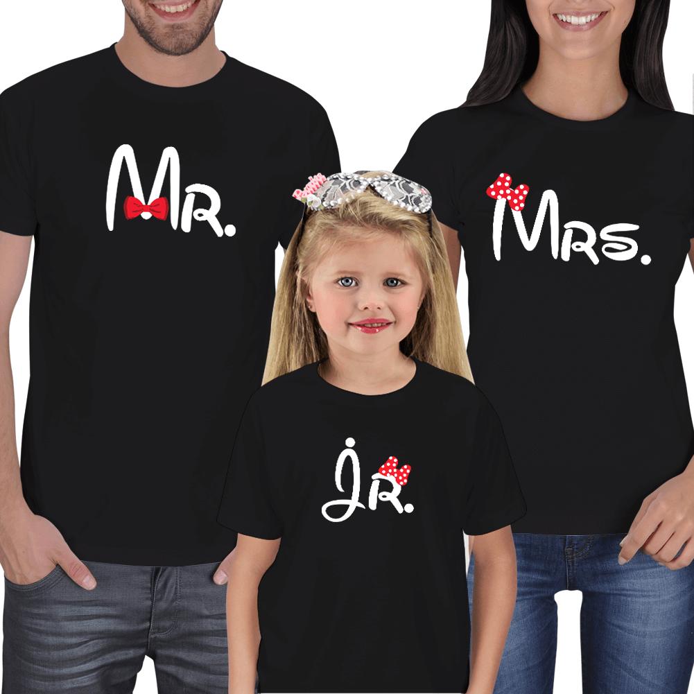 Kişiye Özel Mr. Mrs. ve Jr. Aile Tişört Kombini